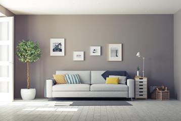 modern interior.3d concept