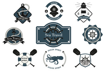 Nautical logotypes set