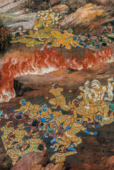 Paint on buddhist's temple. Thailand