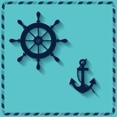 nautical wheel and anchor