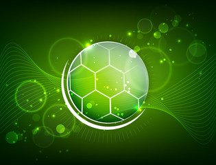 Abstract soccer design with ball and glitter, vector illustration