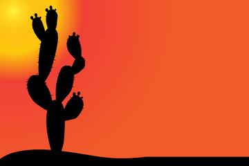 Vector silhouette of cactus.