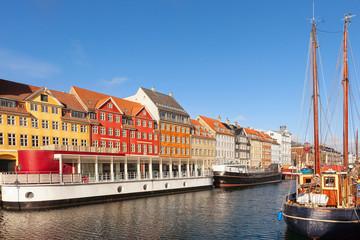 Classic morning view of Nyhavn in Copenhagen, Denmark.