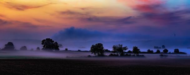 Autumn Sunrise Rural Landscape Panorama