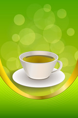 Background abstract drink green tea cup frame vertical gold ribbon illustration vector