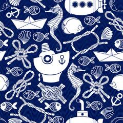 Seamless  pattern with cartoon marine elements.