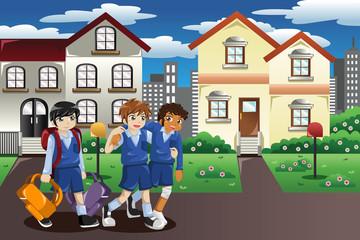 Injured kid walking home from school
