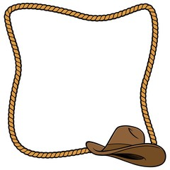 Rope Frame and Cowboy Hat
