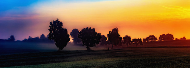 Autumn Sunrise Rural Landscape Panorama