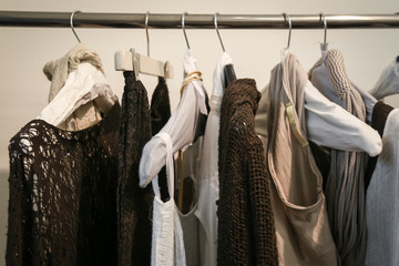 Clothes on the rack in the store