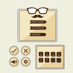 Game User Interface Design For Tablet/ Illustration of a brown hipster graphic game, in retro style with basic buttons