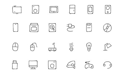 Electronics Hand Drawn Doodle Icons 1