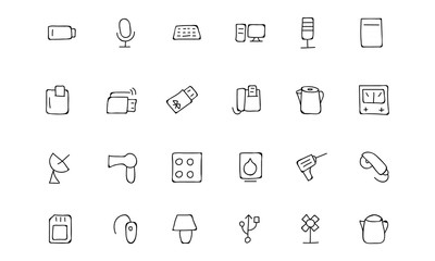 Electronics Hand Drawn Doodle Icons 3