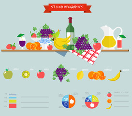infographics flat vector food with still life