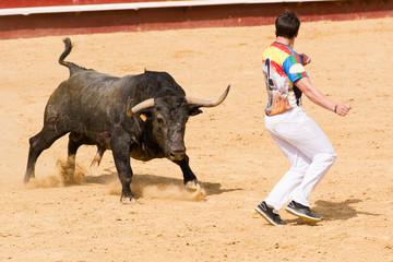 Fotorolgordijn Stierenvechten Competición de recortes con toros bravos. En esta competición se usa el propio cuerpo para torear