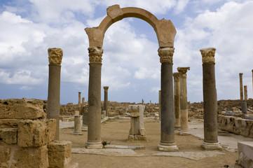 Le rovine del sito archeologico di Sabratha in Libia