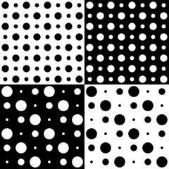 four vector patterns of polka dots