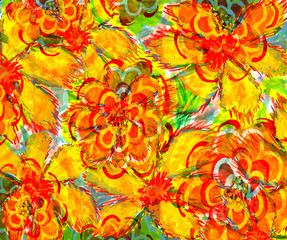 big yellow flower. wetercolor drawing