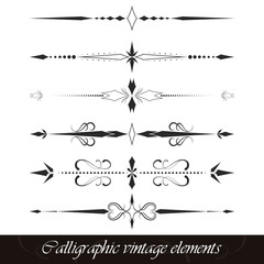 Set of calligraphic vintage elements, borders, dividers or page decor. Vector illustration.