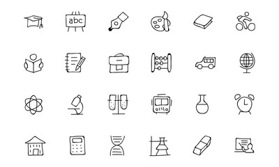 Education Hand Drawn Doodle Icons 1
