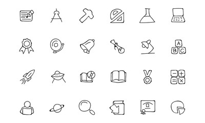Education Hand Drawn Doodle Icons 2