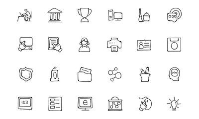 Education Hand Drawn Doodle Icons 4