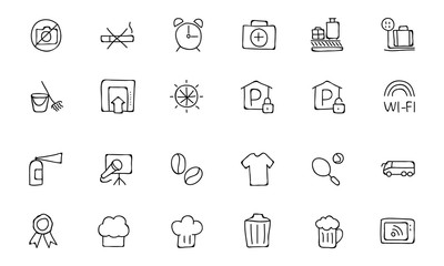 Hotel and Restaurant Doodle Icons 9