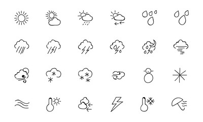 Weather Hand Drawn Doodle Icons 2