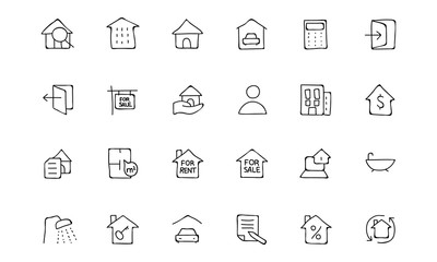 Real Estate Hand Drawn Doodle Icons 1