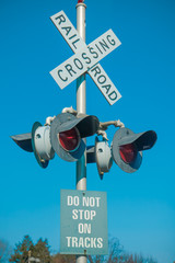 Crossing railroad sign