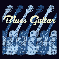 Blues guitar, conceptual vector illustration