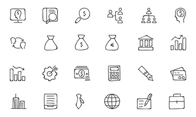 Finance Hand Drawn Doodle Icons 1