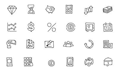 Finance Hand Drawn Doodle Icons 7