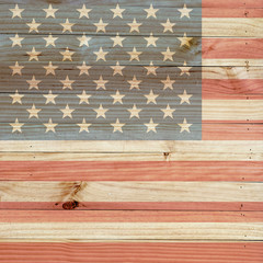 American flag on light brown wood background. for your sample text and design.