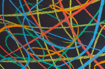 multicolored scribbles  on black background