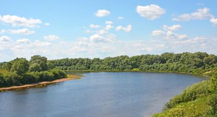Lovat river valley at sunny day. Russia, Novgorod region