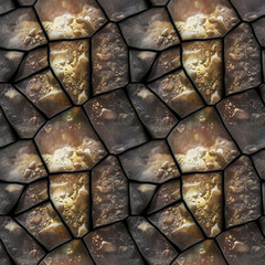 Seamless 3d relief pattern of dewy stones with water drops