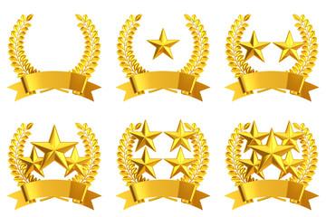 Golden star emblem set