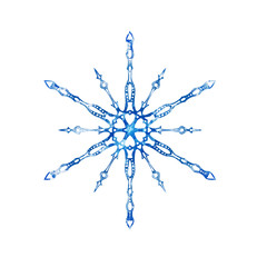Frozen snowflake on white background