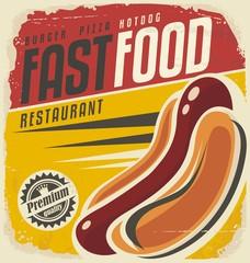 Hotdog retro poster design concept