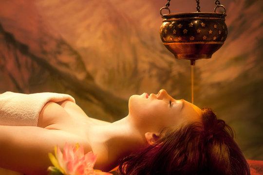 Spa Series: Young Beautiful Woman Having Shirodhara