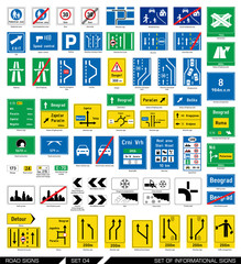 Set of road signs. Signboards. Collection of informational traffic signs. Vector illustration.