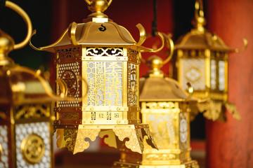 Japanese Lanterns at a Nara, Japan Temple
