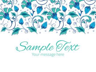 Vector blue green swirly flowers horizontal border greeting card