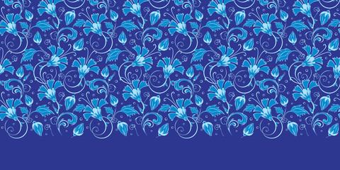 Vector dark blue turkish floral horizontal border seamless