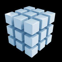 Business concept - 3D block cubes render on white