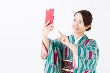portrait of asian woman wearing kimono