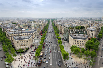 View of the Champs Elysees from the Arc de Triomphe in Paris