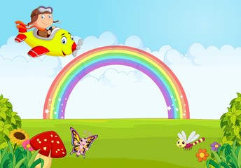 Little Boy Operating a Plane with rainbow