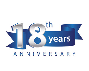 18 Years Anniversary Logo Blue Ribbon